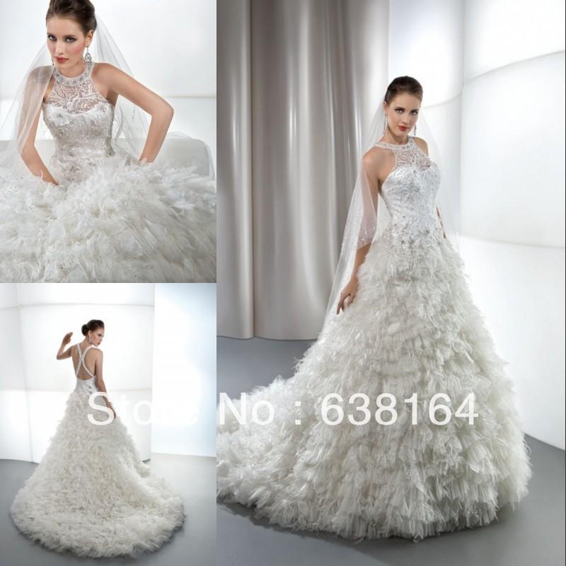 Luzury Halter Sexy Backless Wedding Dress Vernassa 2015 Fast Shipping Vestido De Novia Cheap Dresses Bridal China Online Store(China (Mainland))