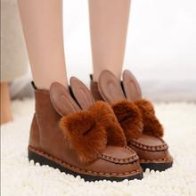 Mujer de invierno de piel de conejo de nieve planos zapatos de moda zapatos caliente envío gratis(China (Mainland))