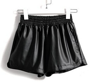 Spring Summer 2015 Women's Sexy Black Red PU High Waist Shorts Vintage Slim Slit Faux Leather Shorts Casual(China (Mainland))