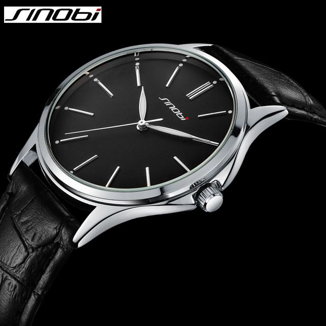 Ультра тонкий простой мода свободного покроя часы япония кварцевые мужские бизнес джентльмен тенденция кожаный ремешок наручные часы классический SINOBI 2016