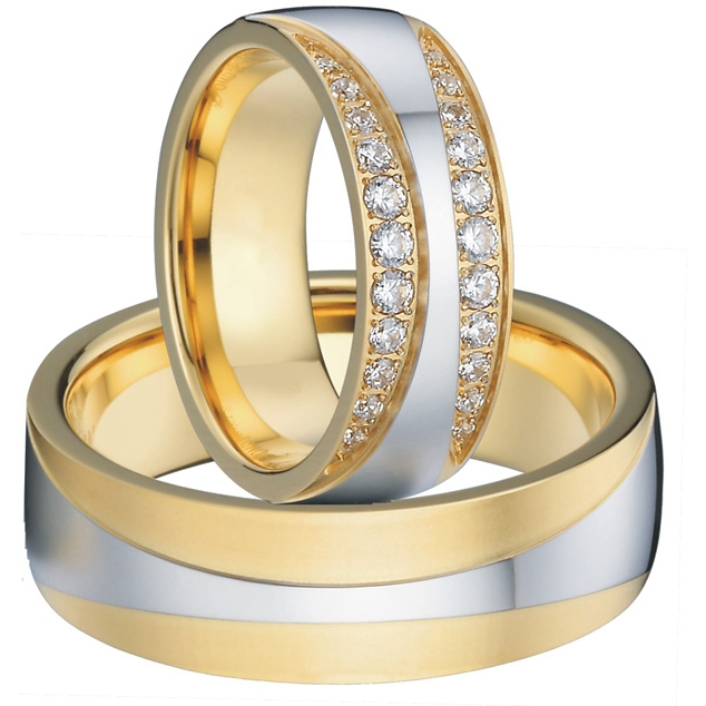 Beatiful his her wedding ring sets with CZ diamonds for women and man couples