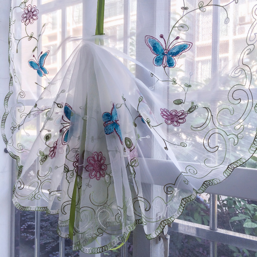 Organza Wool Embroidery Blue Butterfly Pattern Balloon