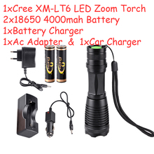 High Power 3000 Lumen Zoomable CREE XM-L T6 LED Flashlight Torch Zoom Lamp Waterproof 5 Modes 18650 Penlight kit - Shenzhen ekaiou technology co., LTD. store
