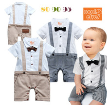 New 2015 Baby Boy Formal Tuxedo Short Sleeve One-Piece Romper Suit Newborn Boys Gentleman Solid Bowknot Summer Cotton Clothing