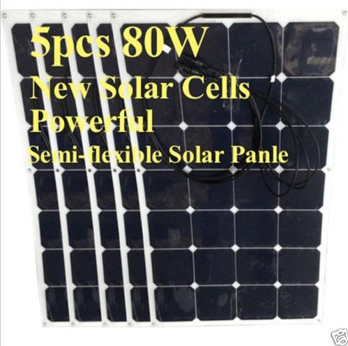 5pcs Free shipping 80W Semi-flexible solar panel with front juction box and 4 grommets on corner(China (Mainland))