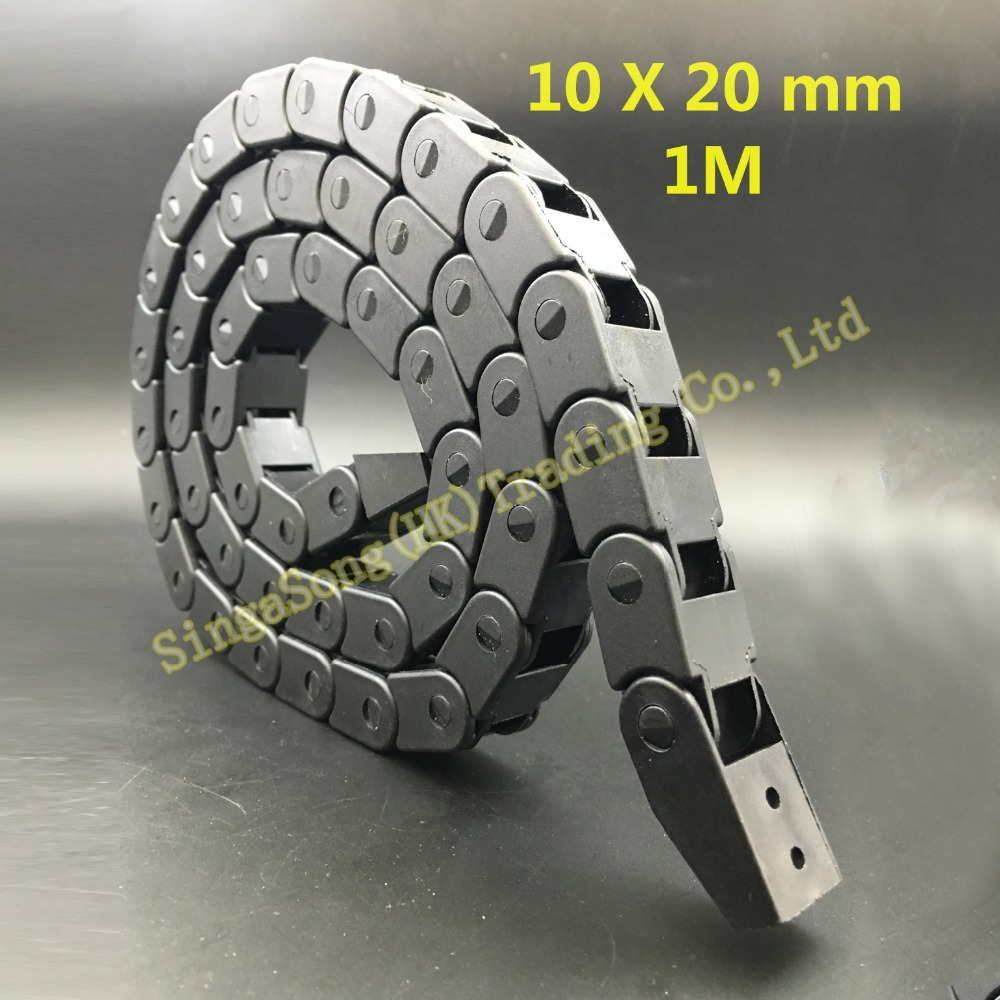 Free Shipping 10 x 20mm 10*20mm L1000mm Cable Drag Chain Wire Carrier with end connectors for CNC Router Machine Tools(China (Mainland))