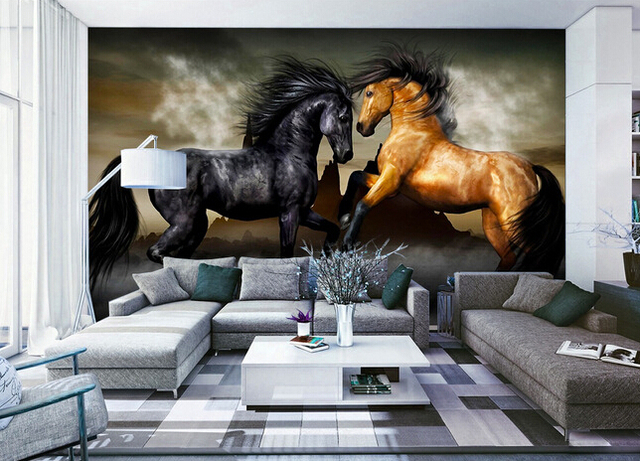 home office with white and black horses wall mural 400x300