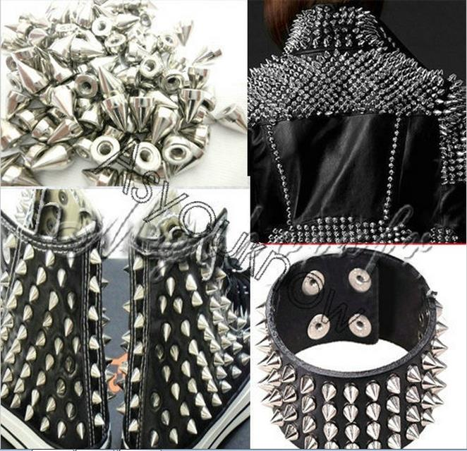 100Pcs SilverMetal Cone Screwback Spikes Studs Punk Rivets Bracelet Leather Bag Cloth Shoes 1Q123(China (Mainland))