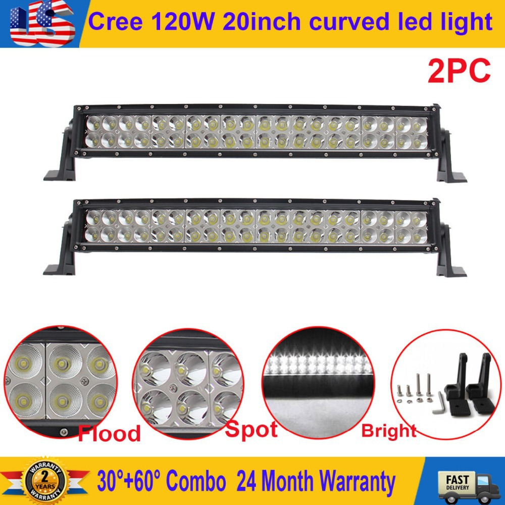 2Pcs 20in 120W Curved Led Work Light Bar Flood Spot Combo Driving Offroad Truck(China (Mainland))