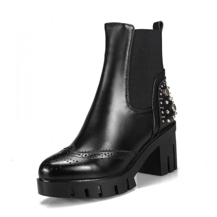 Free Shipping Black / Brown 2015 Autumn / winter Women's Genuine Leather Martin boots Rivets personality Ankle boots for women