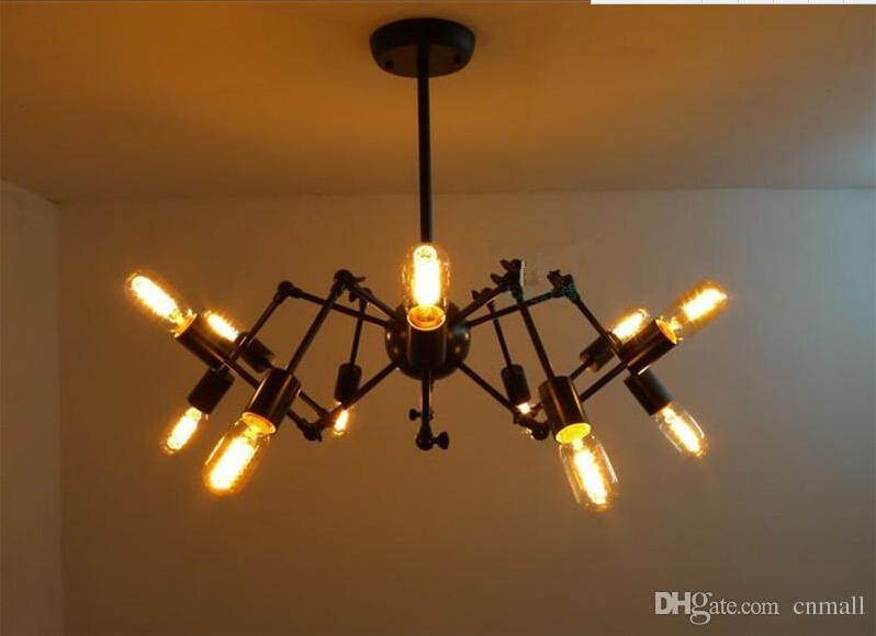 Spider chandelier vintage iron pendant lamp loft american for New modern lighting