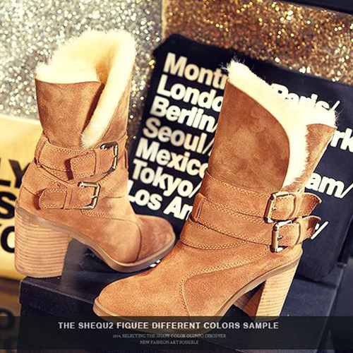 2015 New Snow Boots Belt Buckle Ankle Boots Thick Bottom Thick Winter Women Boots High Heels Solid Color Fashion Shoes Woman