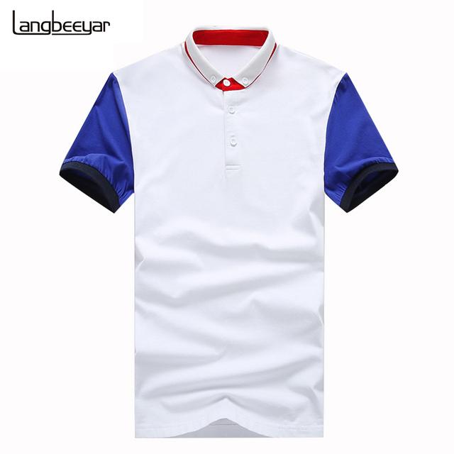 2016 новинка мужская рубашка поло контрастного цвета тенденция тонкий с коротким ...