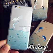 Hot 2015 Japanese original ultrathin transparent shell Ocean animals for i Phone6/6plus mobile phone case Polar bears