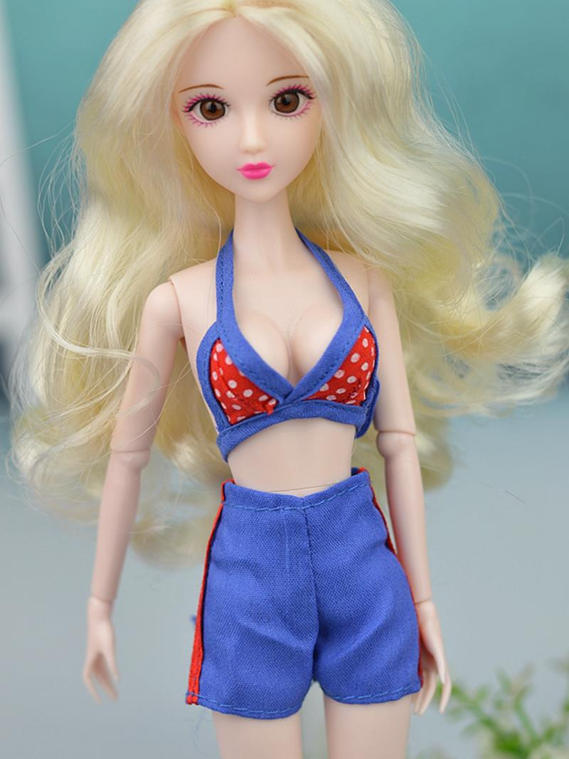 Doll Equipment Units Trend Swimsuits Seaside Bathing Swimwear Outfits For Barbie Doll Garments Bra & Pants For 1/6 BJD Doll
