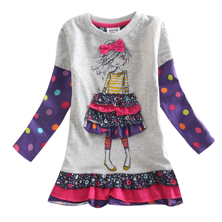 baby girl dress long sleeve nova kids brand kids dress for girls children clothing girl summer dress 2015 new arrival(China (Mainland))