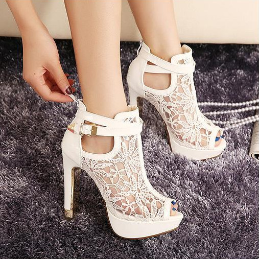 Size35-39 2015 new fashion women 11 CM high heels white lace open toe summer sandals leather platform pump free shipping<br><br>Aliexpress