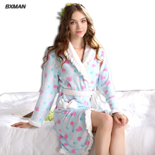 BXMAN Brand  Winter New Robe Women Polyester Girls Flannel Bathrobes Winter Homewear Sweety Women Homewear Robes 85(China (Mainland))