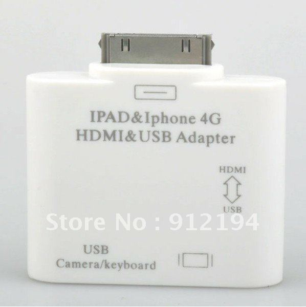 Ipad& Iphone 4G HDMI&USB ADAPTER  with Retail packaging Free Shipping