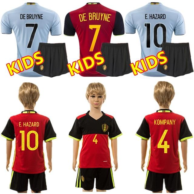 HOT SELL ! kids 16 17 Belgium jersey short sleeve blue Soccer Jerseys HAZARD football shirts 2016 child home away<br><br>Aliexpress