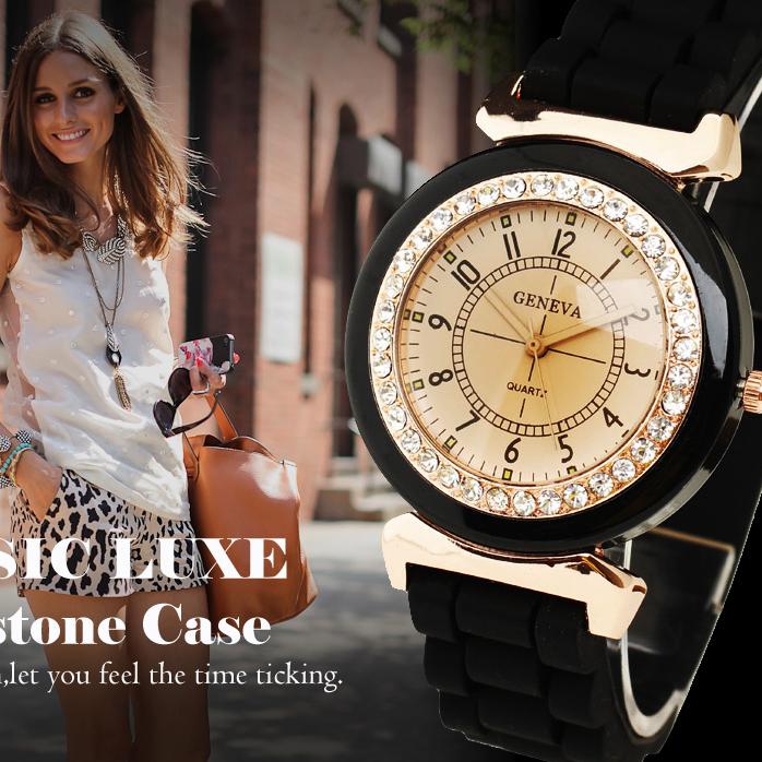 Hot New Geneva Women s Lady Girl Rhinestone Crystal Silicone Rubber Strap Band Analog Quartz Wrist