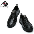 AD AcolorDay 2017 Fashion Designer Men Shoes Luxury Brand Solid Spring Autumn Shoes for Men Black