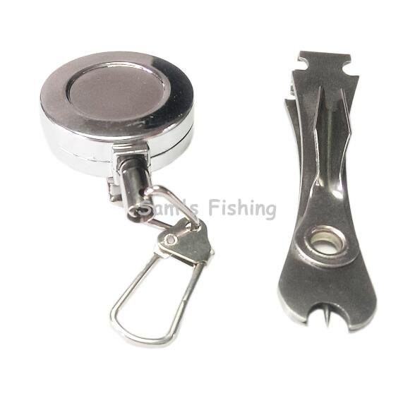 "Fly Fishing Combo Kit Nail Knot Tyer Nipper Silver Pin on D1"" Metal Zinger Retractor Badge Holder WW148(China (Mainland))"