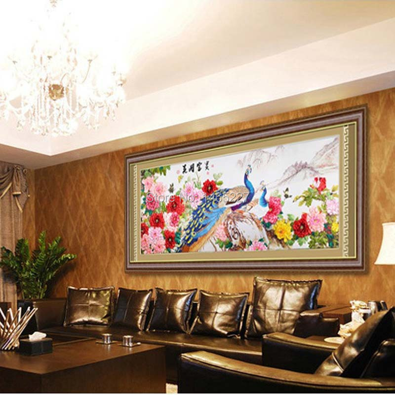Hot Sale Colorful DIY 5D Landscape Peacock Painting Cross Stitch Kits Classical Home Living Room Decorative Diamonds Embroidery(China (Mainland))