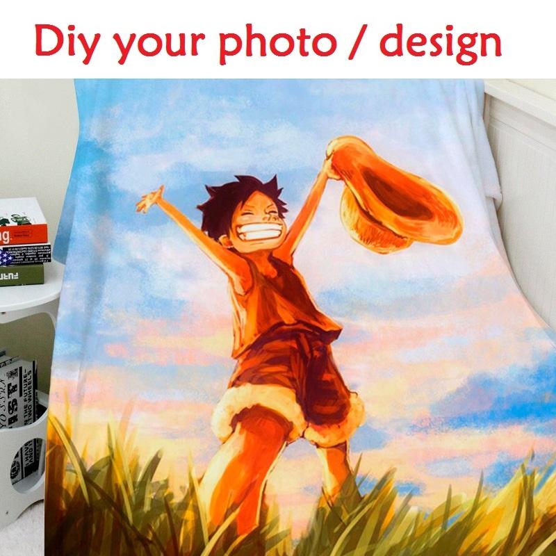 Blanket Custom Photo 150x200cm Flannel Fleece Fabric Blanket Anime One Piece Sofa Bed Throw Blanket Kid Adult Warm Blanket