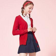 Semir 니트 카디 건 스웨터 여성 2019 봄 간단한 솔리드 스트레이트 하단 의류 스웨터 여성을위한 패션 카디건(China)