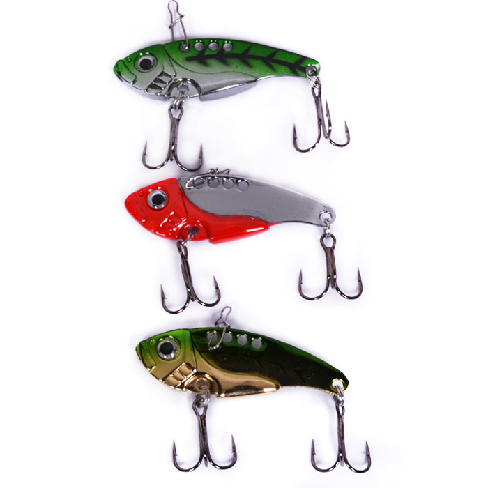 New design 10pcs metal VIB fishing lure 42mm/7g mixed 3 colors free shipping by China post