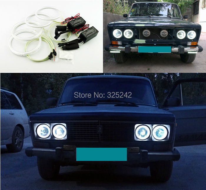 Lada Vaz 2106 1976-2001 Excellent Angel Eyes kit NEW Ultra-bright headlight illumination CCFL Halo Ring - Geerge-Tech store