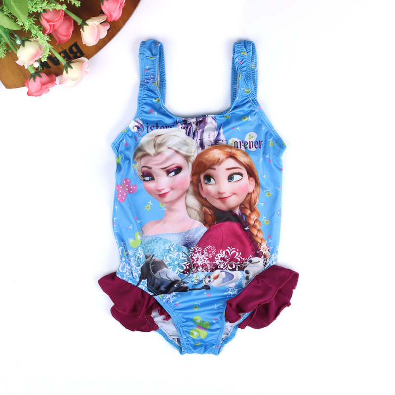 Hot 1pcs Retail 2015 New Girls Cartoon Elsa Swimwear Children One Pieces girl Sandy beach swimming clothing Kids Anna Swim Wear(China (Mainland))