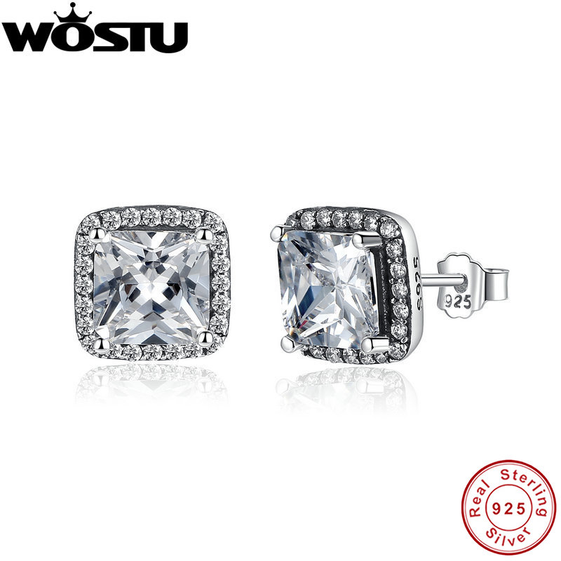Wholesale 100% 925 Sterling Silver Eternity Elegance Stud Earrings With Clear CZ For Women Authentic Original Jewelry Gift(China (Mainland))