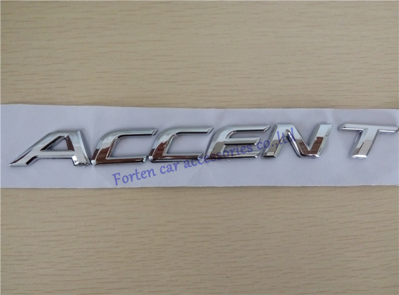 Car Tail Emblem For Hyundai Accent 3D ABS Letter Badge For Car styling Chrome Accent Sticker(China (Mainland))