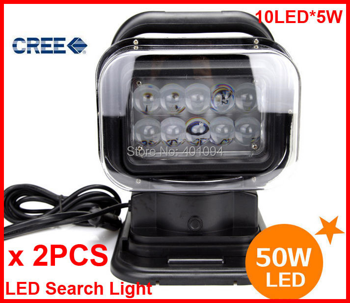 2PCS 7 50W CREE LED Search Light Wireless Remote Control Magnet Base 360 Degree Rotating Spot Beam 12V/24V 6500lm Off-Road Lamp