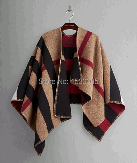 B brand Women Prorsum Cape Knitted Wool Cashmere Scarf Shawl Check Blanket Poncho Bufanda Manta Cloak Wraps Shrug(China (Mainland))