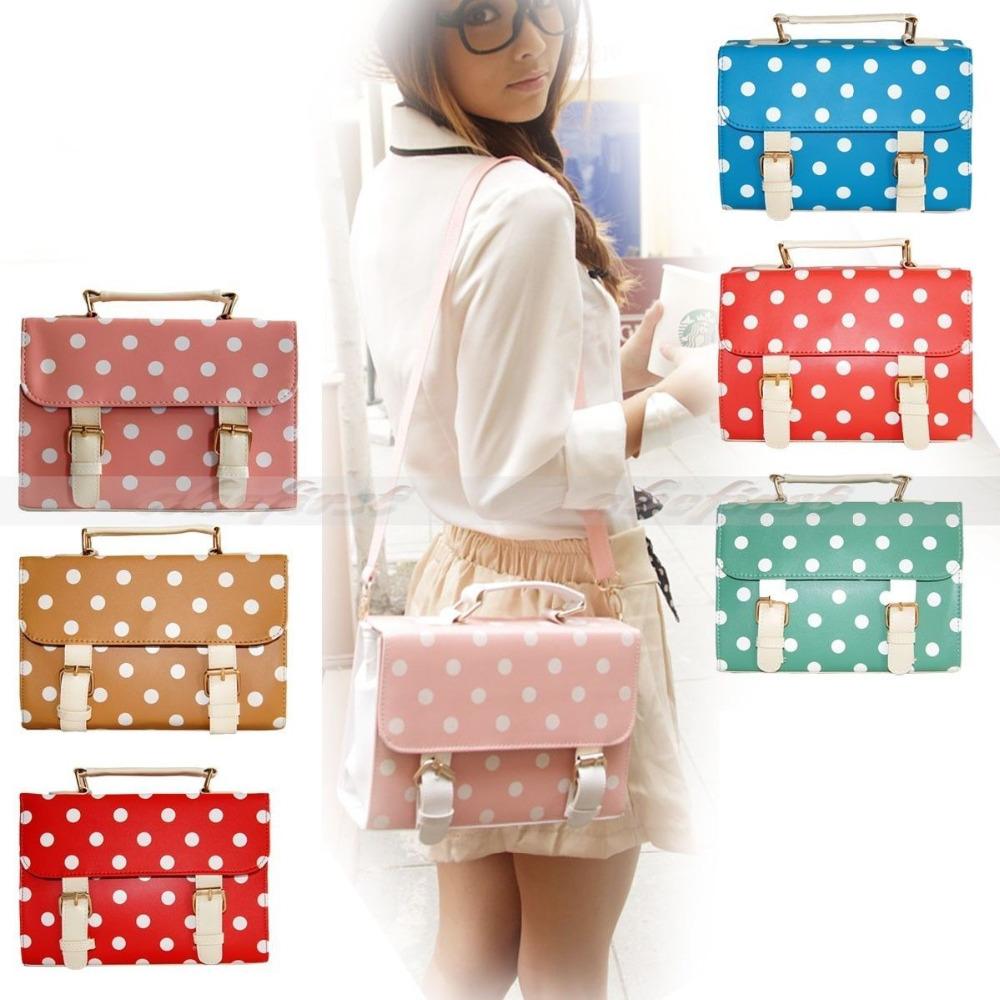 Free shipping Women Ladies Polka Dot Spots Satchel Vintage School Shoulder Crossbody Handbag(China (Mainland))