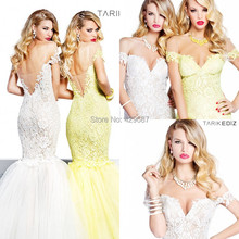 2016 Gorgeous V Neck Cap Short Sleeve Mermaid Party Floor Length Backless Prom Gown Lace Appliqued Tulle Evening Dresses UM849
