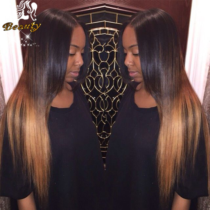 #1B T #27 Ombre Human Hair Lace Front Wig Silky Straight Brazilian Virgin Hair Glueless Two Tone Full Lace Ombre Wigs 26 Inches<br><br>Aliexpress