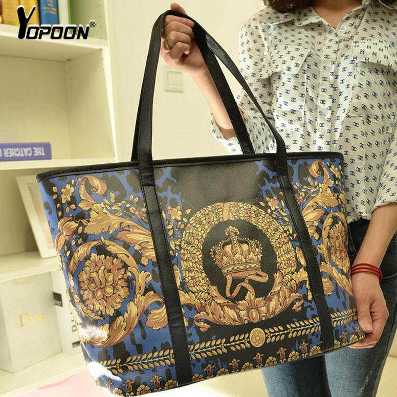 Handbags Lady Latest Fashion 2015 Flower Print European Style Large Shoulder Bag Women Purse Pu Leahter Brand Tote Bolsas(China (Mainland))