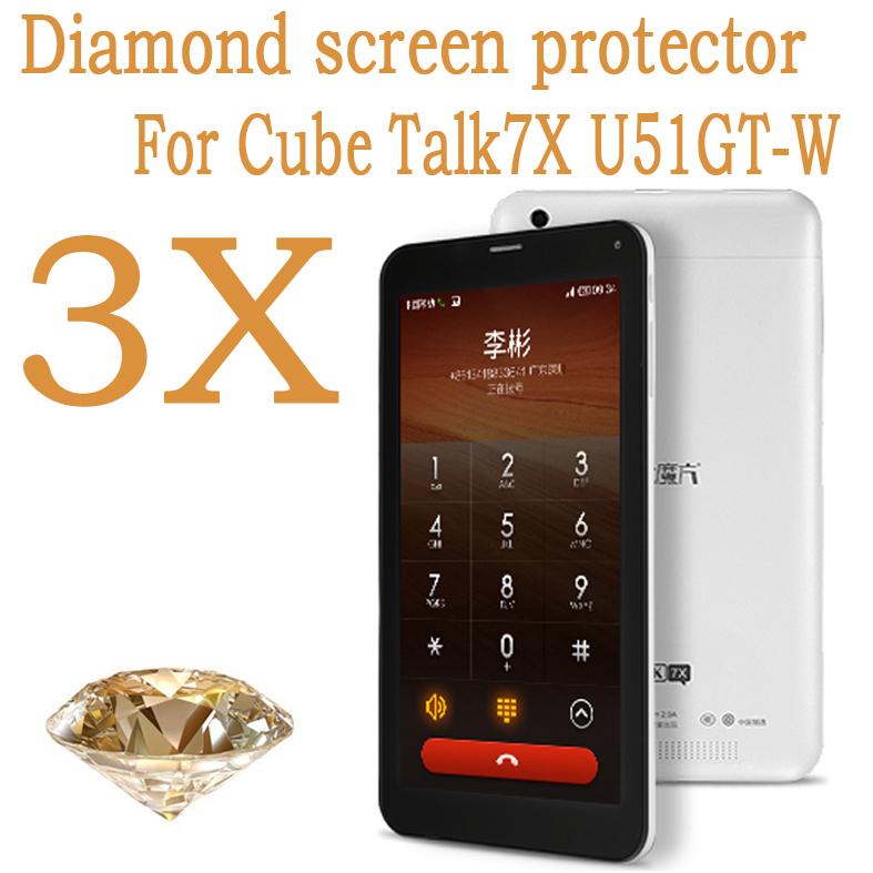 3pcs Cube Talk 7x Diamond screen protector,cellphone Original screen protective film for Cube U51GT(China (Mainland))