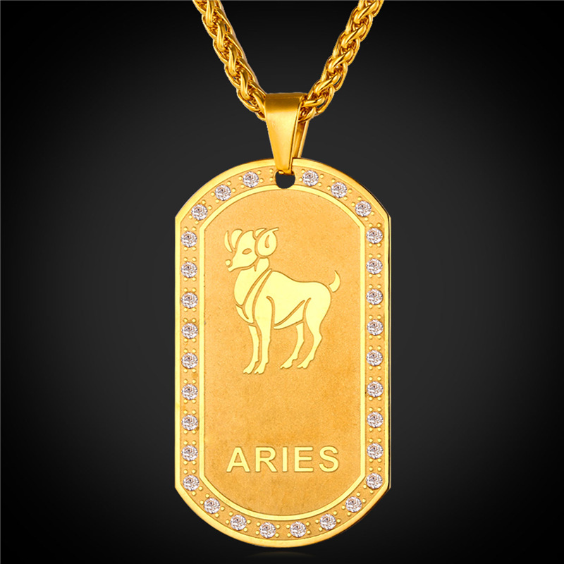 Zodiac Charms ARIES Pendant Necklace Women/Men Jewelry Gift 2016 Rhinestone 18K Real Gold Plated Necklace Dog Tags For Men P1821(China (Mainland))