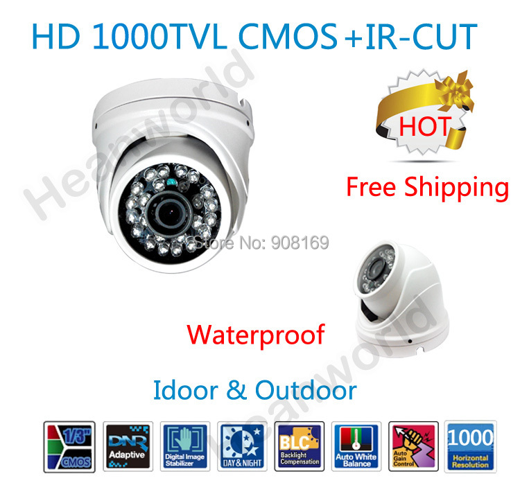 Hot 1000TVL Color CMOS sensor metal camera with IR-CUT dual filter waterproof  Dome security Camera  outdoor CCTV Camera<br><br>Aliexpress