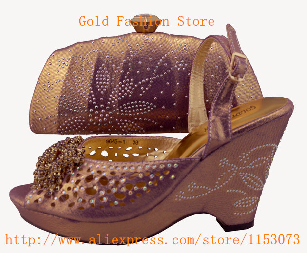 Italian shoe and bag to match with free shipping by DHL, gold with purple color fashion shinning stones with dress,1308-L3 38-42(China (Mainland))