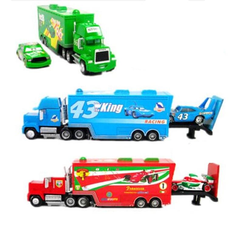 Pixar cars 2 # 95 43# 86# Mack truck Hauler + Diecast Meta small cars toys children xmas gift(China (Mainland))