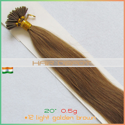 """20"""" #12 Indian Stick tip Hair Extensions Human 0.5g/s light golden brown Real itip Hair Extensions 4A Grade expedited service(China (Mainland))"""