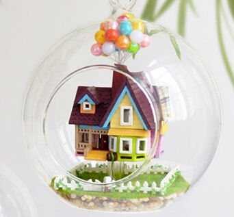 Flying Cabin Destiny DIY House Toy Set Glass ball Wooden Doll House DIY gift Model Building Miniature Furniture(China (Mainland))