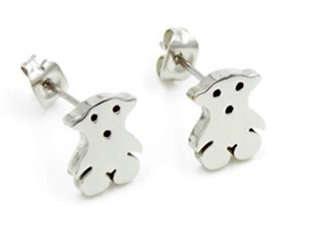 New 2014 Fashion Jewelry Lovely Stainless Steel Stud Little Bear earrings silver bear titanium earring ts-31(China (Mainland))