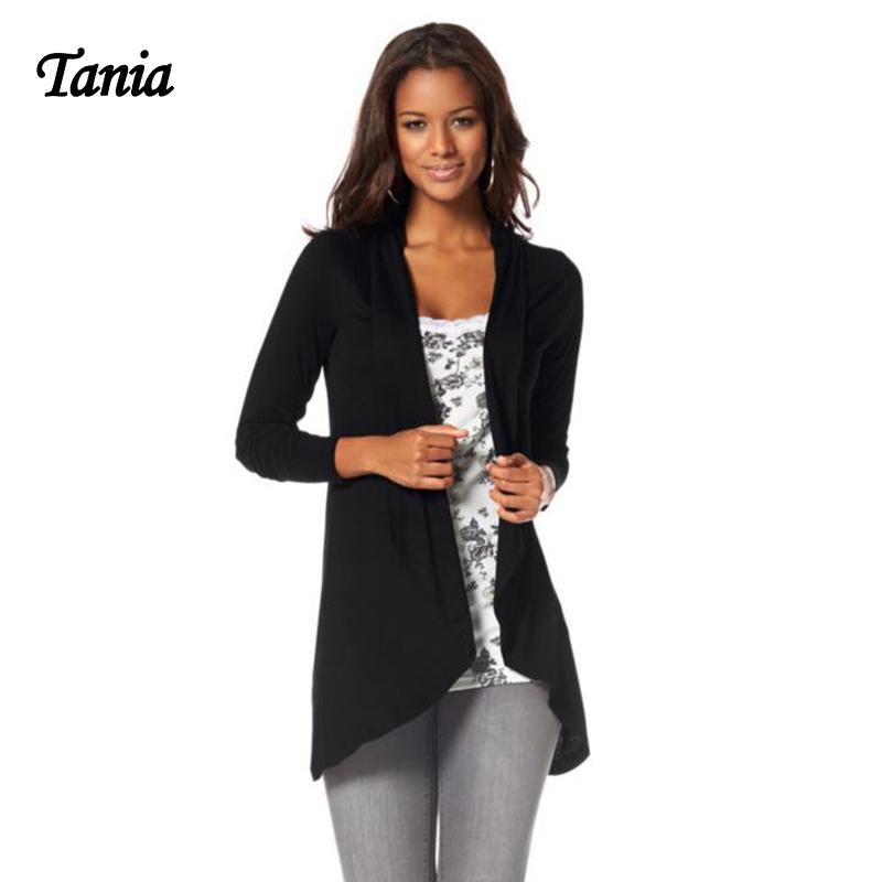 TANIA Top Quality Draped Warm Women Basic Coats Turndown Cotton Long Autumn Black Purple Female Jacket(China (Mainland))